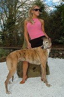 Britney Lee with Bobby the Greyhound