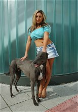 Blue, the blue greyhound with model Hannah Lewis