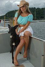 Indi and model Hannah Lewis on a house boat